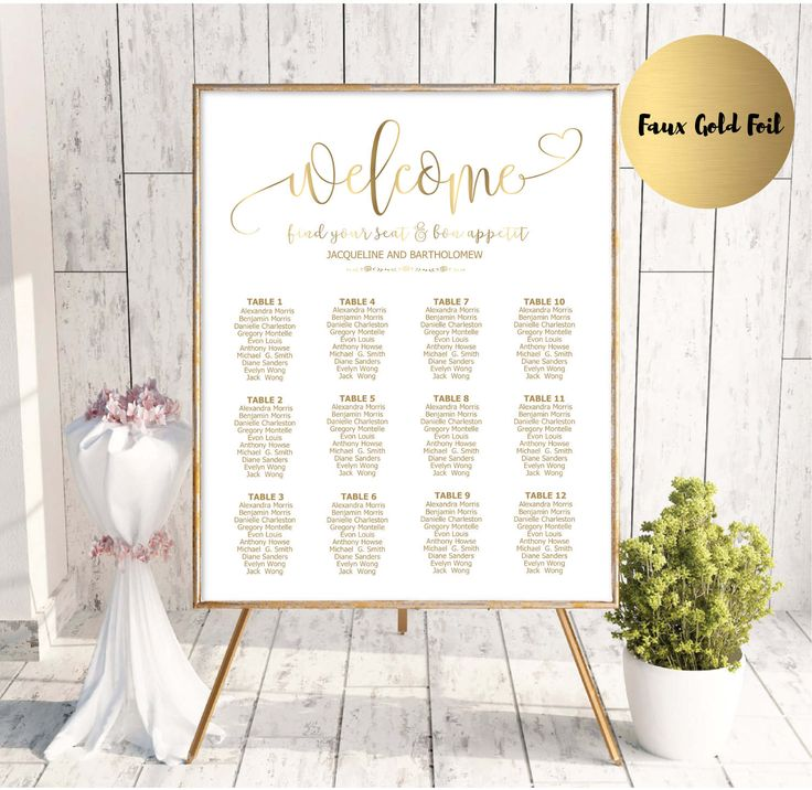 Wedding seating charts template 2