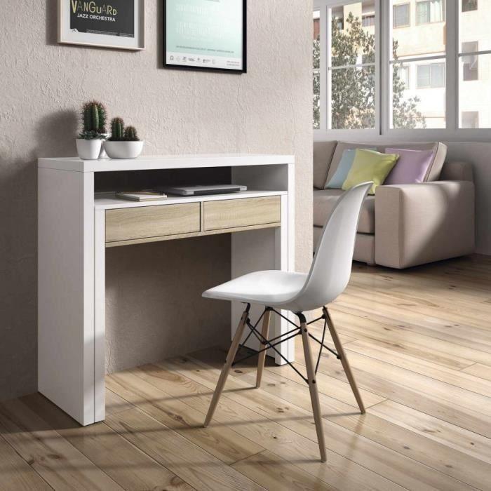 Console Bureau Nordik 36 Cm Extensible Jusqu A 70 Cm Chene Blanc En 2020 Console Bureau Bureau Extensible Console Salon