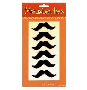 Self-Adhesive Fiesta Moustaches (6).  Celebrate!! Complete your dapper 'stache look with these stick on accessories for a real authentic look! These are cool accessories!  Perfect for any moustache or Movember event  Synthetic. Accessories not included; 7.5cm Wide x 2.5cm High;  Includes 6 pieces per set.