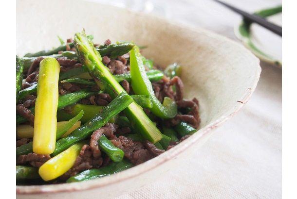 牛肉とグリーン野菜のオイスター炒め