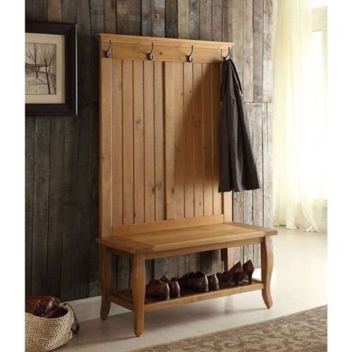 Inspirational solid Wood Hall Tree with Storage Bench