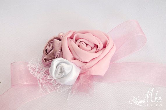 White mauve and pink cuffs wrist corsage bracelet by MkeFlower
