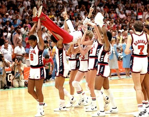 Pat Summit being carried off by the women's US team after winning gold in 1984.