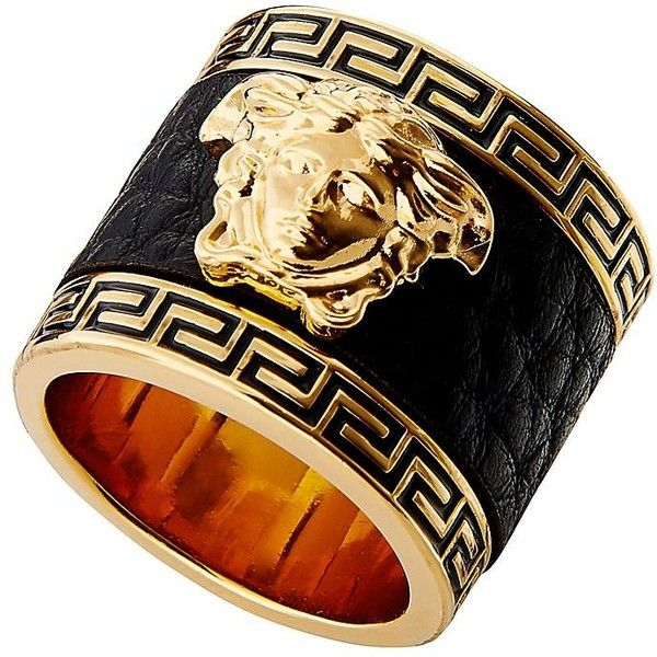 Leather Medusa Ring ❤ liked on Polyvore featuring jewelry, rings, leather jewelry and leather ring