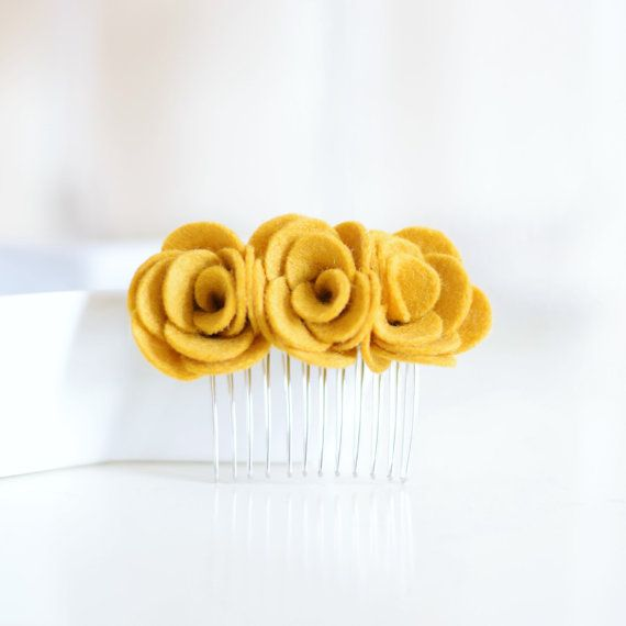 Mustard yellow hair comb Flower hair accessories for women by lindiespatch