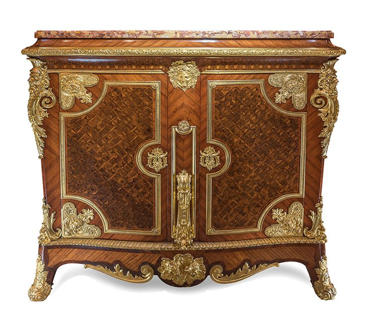A Magnificent large Louis XIV style gilt bronze-mounted kingwood, satinwood and fruitwood marquetry and parquetry side cabinet