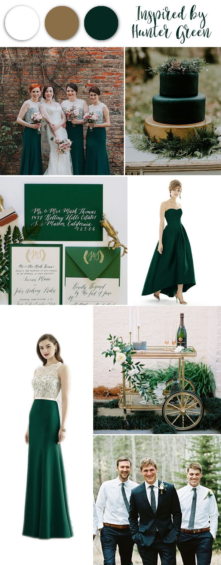 Hunter green has got us inspired for a late fall to winter wedding. The stunning jewel toned green along side of white and gold perhaps? Rich and earthy at the same time, hunter green bridal party inspiration. #huntergreenwedding #greenweddinginspiration