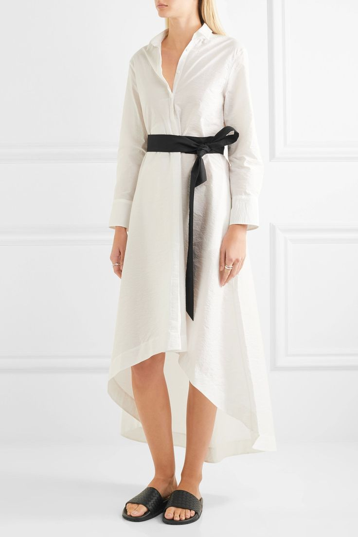 Brunello Cucinelli | Belted cotton-blend midi dress | NET-A-PORTER.COM