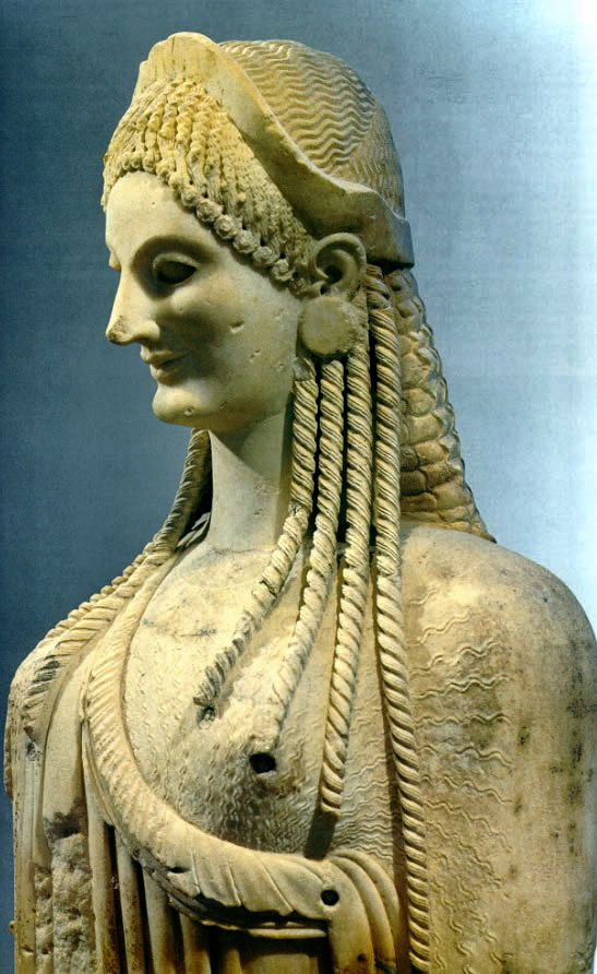 Kore from the Acropolis Archaic period. The Kouros and Kore statues were usually lifesize or larger, and made of marble. The kouros (male statue) was always nude and the koure (female statue) was always clothed....RESIST PINTEREST CENSORSHIP
