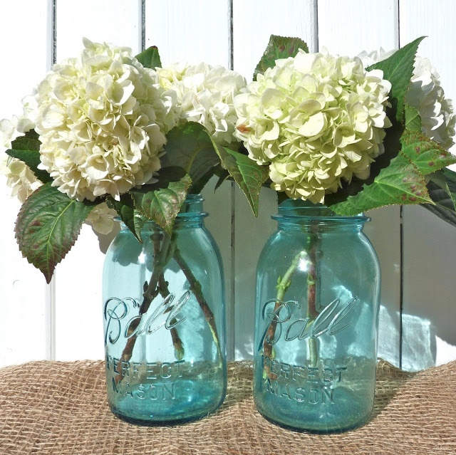 Wedding Flowers In Mason Jars: Hydrangeas In Blue Ball Jars