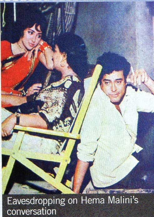 During filming of DHOOP CHHAON. Sanjeev Kumar and Hema Malini...