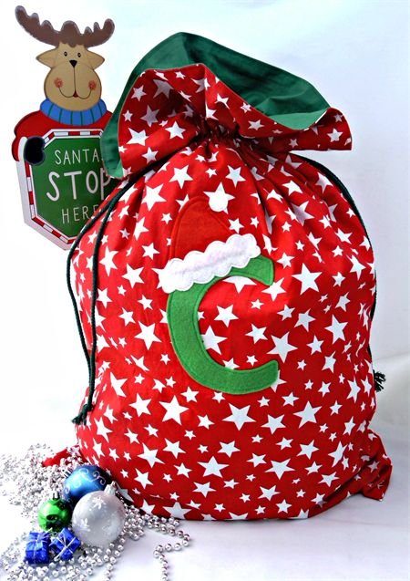 Personalised Santa Sacks fully lined drawstring santa sack, Stars print