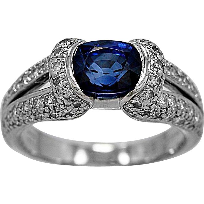 Estate Engagement Ring 1.75ct. Sapphire, Diamond & Platinum Eichhorn- J34421