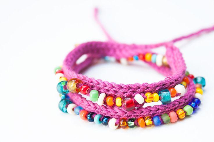 Cómo hacer una pulsera de ganchillo con bolitas | Pulseras de la suerte | Pulseras de la amistad | Crochet bracelet