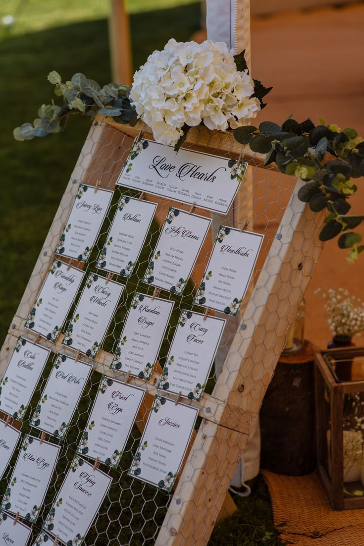 Table plan made from reclaimed wooden pallet and chicken wire. Rustic style table plan with hydrangeas and foliage.