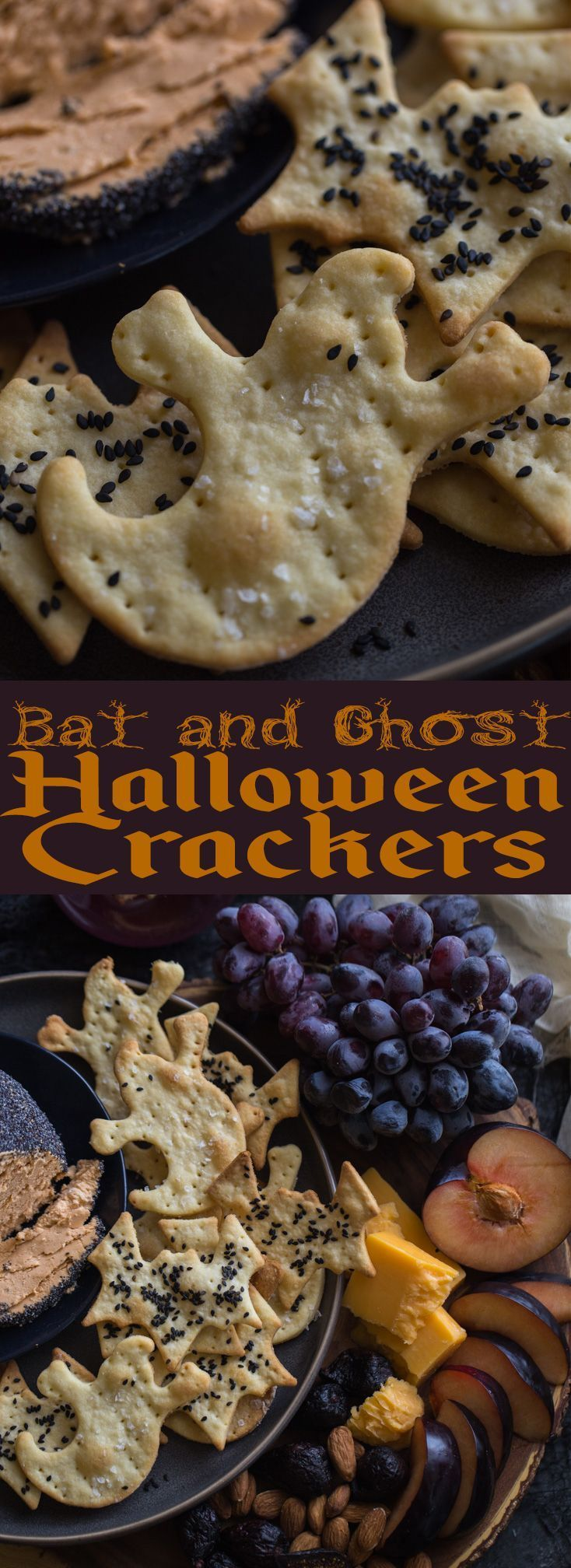 Bat and Ghost Halloween Crackers | Halloween Appetizers | Grown up Halloween ideas | Classy Halloween party | Not gross Halloween foods | Parmesan crackers