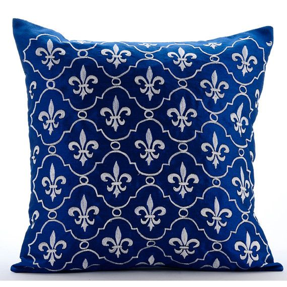 French Vanilla - 16x16 Royal Blue Silk Throw Pillow with White Embroidery.