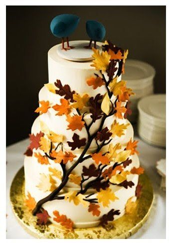 autumn wedding cake | great colours - love the teal | www.amoureternel.co.uk for bridesmaids dresses in great colours!