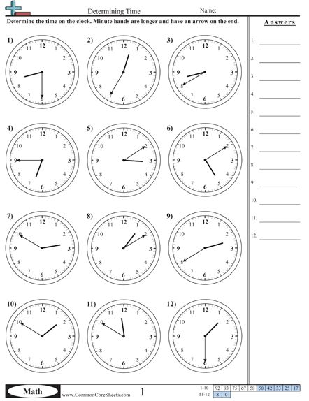 Common core worksheets elapsed time