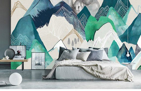 Oil Painting Abstract Mountain Landscape Wallpaper Wall Mural Abstract Mountains Landscape Wall Mural Nordic Mountain W Wall Murals Painted Mural Wall Murals