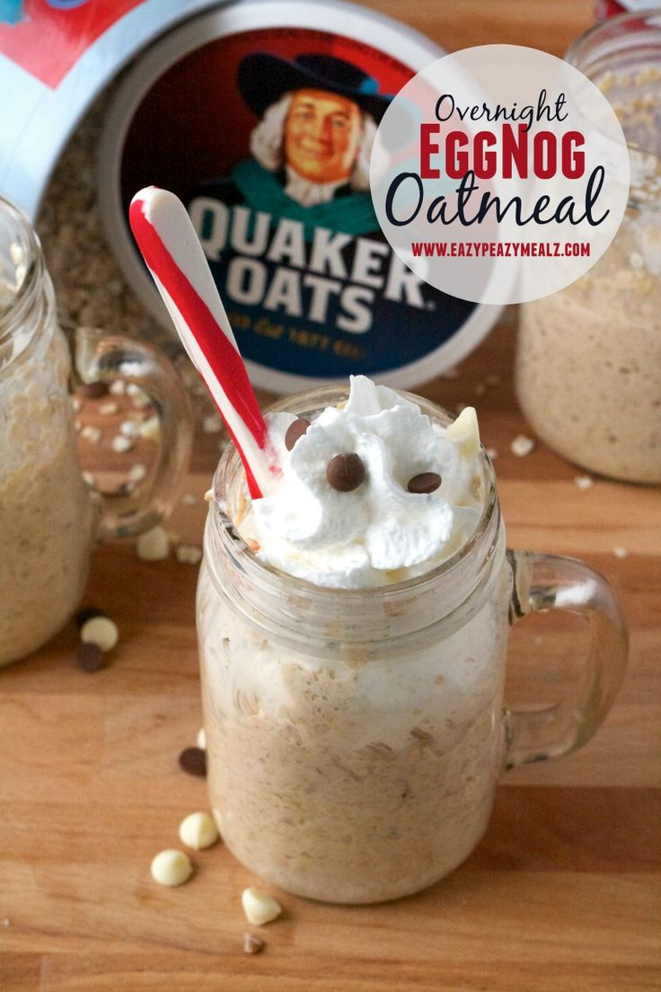 Overnight Eggnog Oatmeal Recipes: Just a few minutes prep at night and you get this totally festive, delicious breakfast in the morning. - Eazy Peazy Mealz #QuakerUp #spon