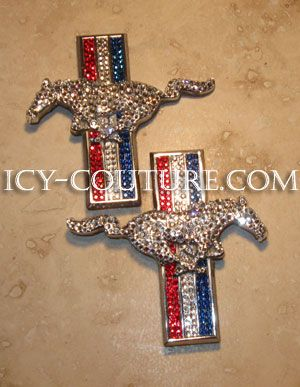 Bling-Bling!: ) Set of MUSTANG door emblems bedazzled in Swarovski crystals