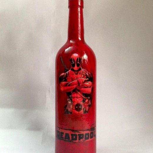 Deadpool Red Glass Wine Bottle Decor (Large)