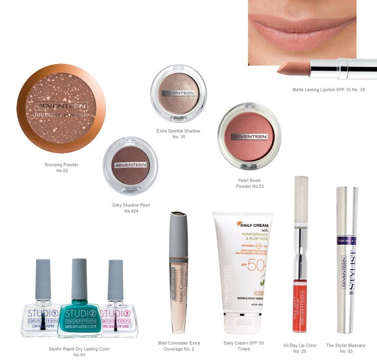 Nude Summer Beauty   Seventeen Cosmetics This summer's favorite make up look calls for sand beige shades with bronze touches on the eyes and coral tones on the lips. #Seventeen #Cosmetics #makeup