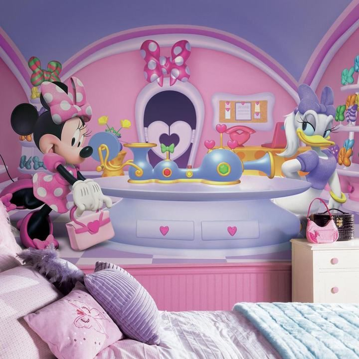 Disneyu0027s Minnie Mouse Fashionista Removable Wallpaper Mural, Multicolor Part 53