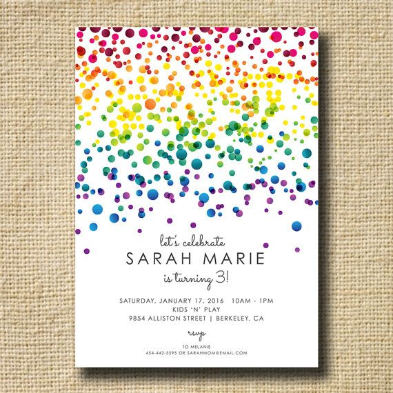 Love the rainbow, though I'm much older than 3!   Put a bad pun and the party details and it's perfect!