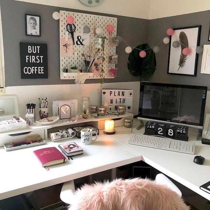 But First Coffee Framed Art Ideas For Decorating Your Office At Work White Desk Grey Walls Wood Cubicle Decor Office Work Cubicle Decor Office Space Decor