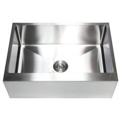 "Farmhouse Apron Kitchen Sink. Flat Front Design. 16 Gauge Stainless Steel. Spacious Single Bowl Design. Exterior Dimensions 30"" x 21"" x 10"". Interior Dimension 28"" x 17-1/2"" x 10"". Apron Depth 10"".  http://www.emoderndecor.com/30-inch-stainless-steel-flat-front-farm-apron-single-bowl-kitchen-sink-15mm-radius-design-16-gauge.html#.UTXzz2MyXRg"