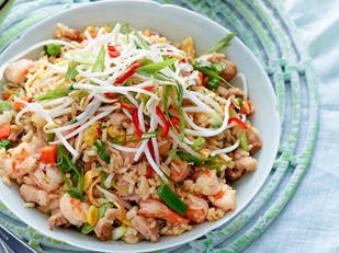 Pork, prawn and vegie fried rice    Too tasty! This is great for using up leftover boiled white rice and vegetables – think mushrooms, capsicum and zucchini, which you can use instead of frozen vegies.