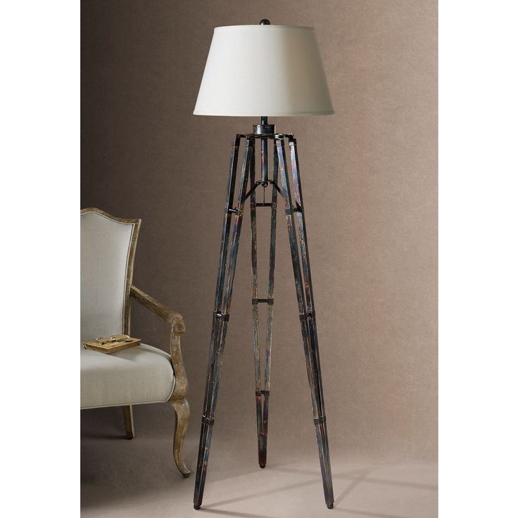 Nice Brighten Up Your Living Space With This Gold And Bronze Tripod Floor Lamp.  Perfect For