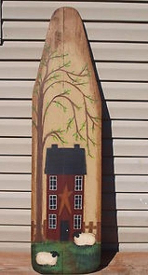 Primitive Vintage Wood Ironing Board Hand Painted with Saltbox House, Primitive Sheep, and Willow Tree