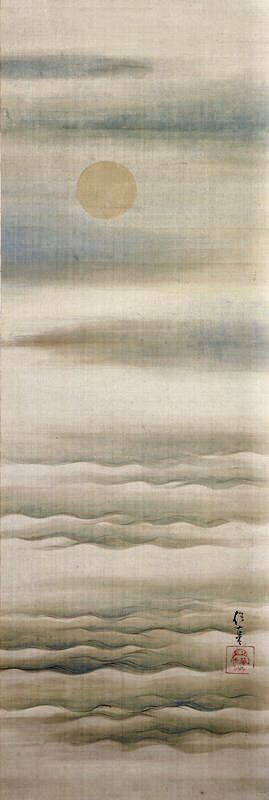 Pale Moon over Soft Waves. Early 19th century. 酒井 抱一 Sakai Hōitsu. Japanese hanging scroll. Ink and color on silk. Rinpa School MIA.