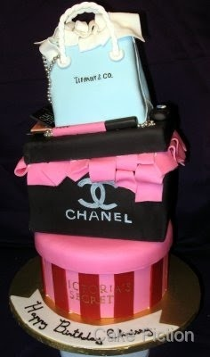 Victoria's Secret hat box/Chanel/Tiffany & Co. Cake