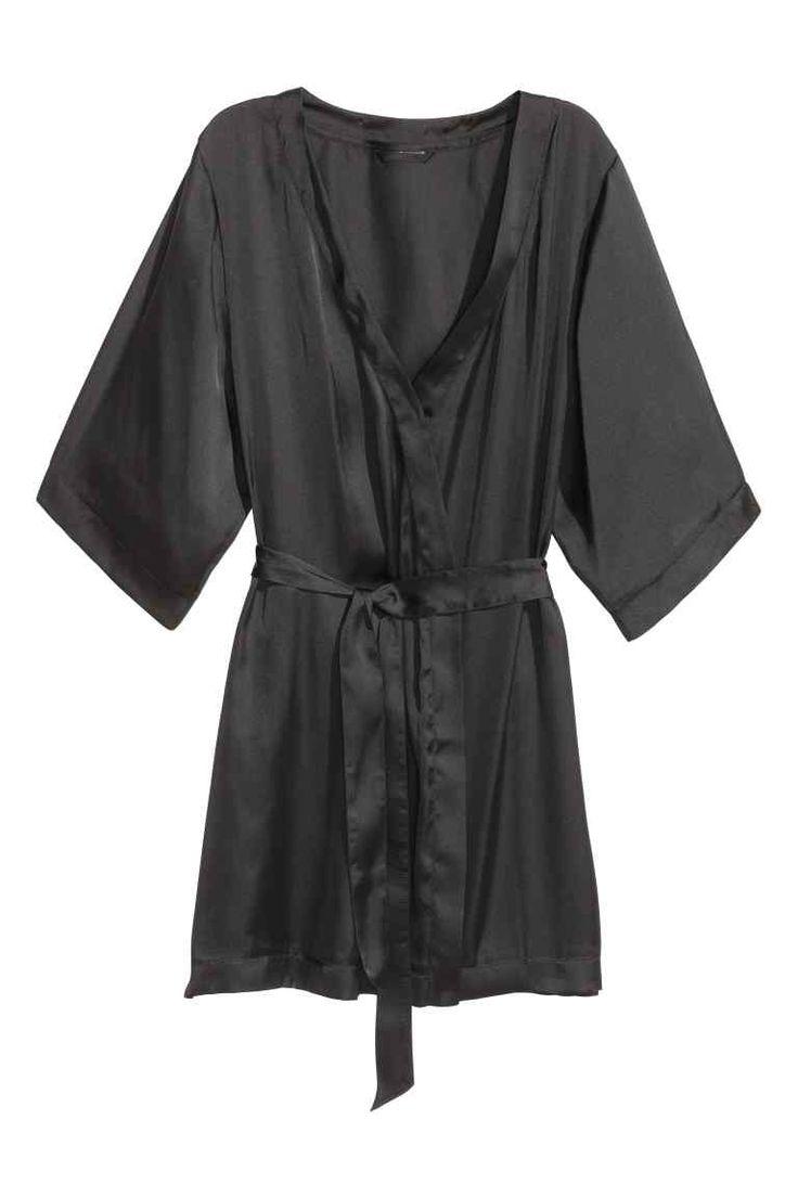 Kimono de satén - Negro - MUJER   H&M ES