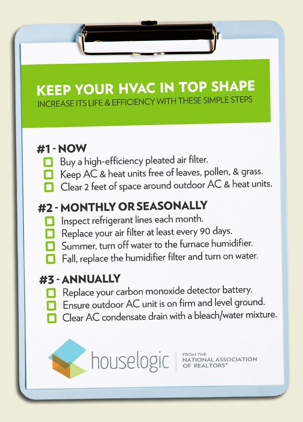 #HVAC Checklist For #Homeowners. -HouseLogic #HomeOwnerTips