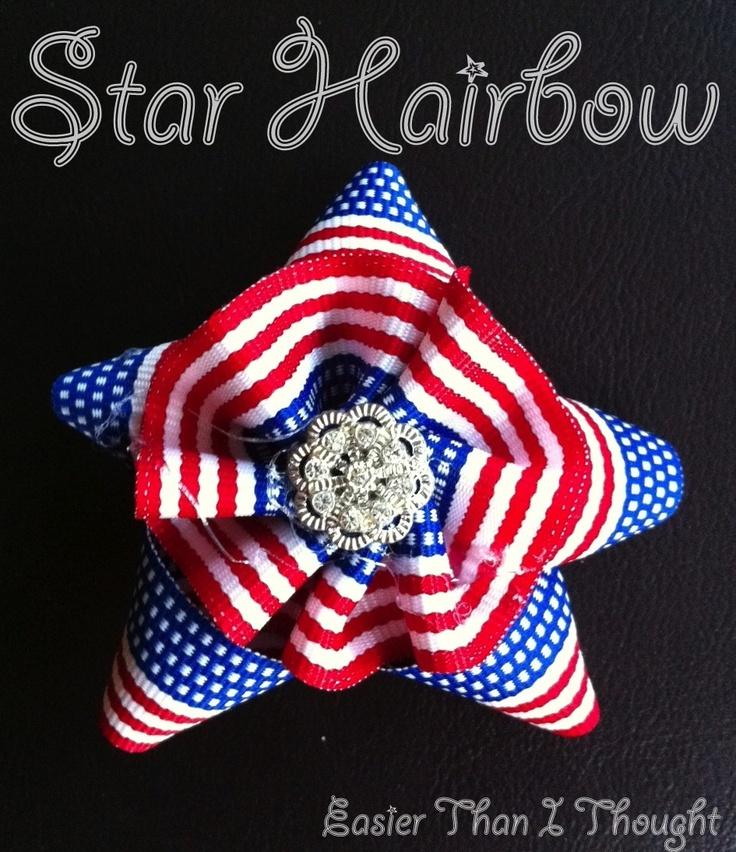 Easier Than I Thought: Patriotic Bow: Hairbows Ideas, Hair Bows, Stars Hair, Hair Accessories, Star Hair
