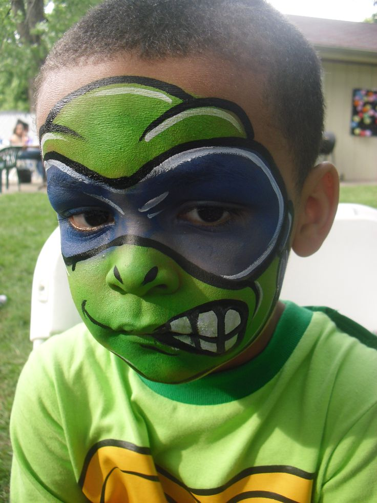 Teenage Mutant Ninja Turtle face painting by Party Picassos Face Painting of Chicago, www.partypicassos.com