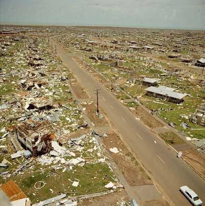 The aftermath of Cyclone Tracy. December 25, 1974. Darwin, Australia. Fatalities: 71.
