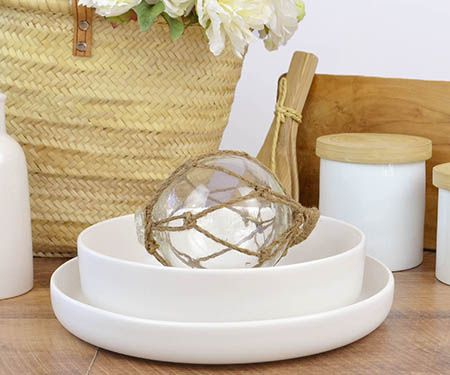 Glass Fishing Float with Rope - crisp white teamed with warm wood tones
