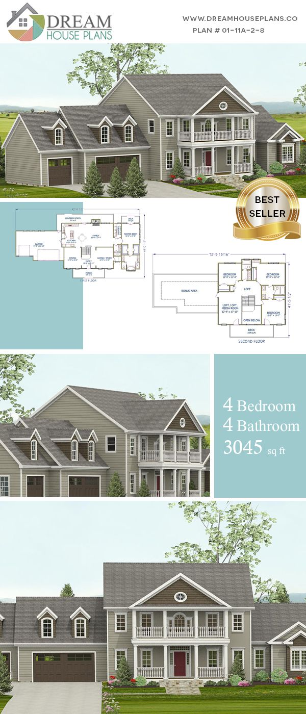 Dream House Plans Unique Custom Luxury 4 Bedroom 3045 Sq Ft House Plan With Porches Open Floor Plan With Dream House Plans House Plans Porch House Plans