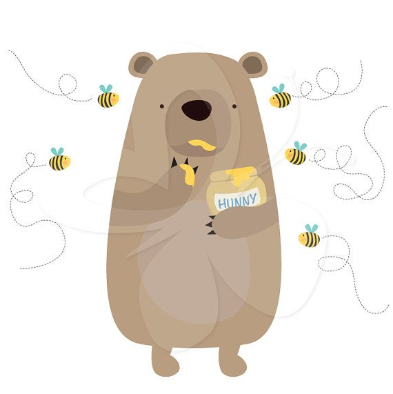 Honey Thief Bear and Bees Digital Clip Art por CollectiveCreation