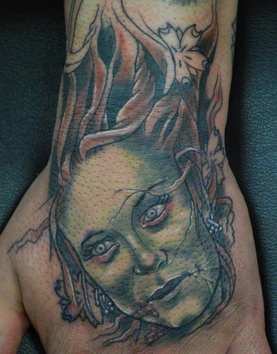 Zombie Head Tattoo Flash Zombie girl head tattoo