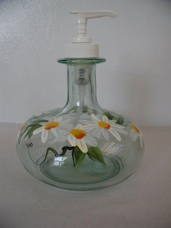 Handpainted Daisy Glass Pump Bottle