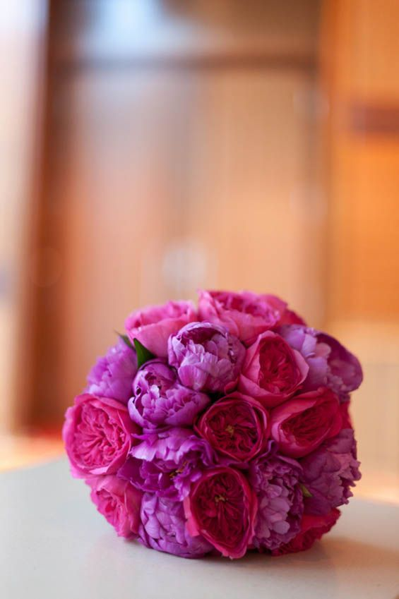 Stunning vibrant colors for a bridal bouquet. #pinkandpurpleflowers #peonies #bridalbouquet
