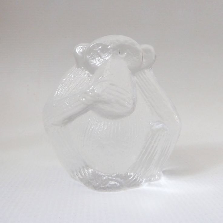 #LisaLarson Royal Krona, glass monkey paperweight figurine. 'Speak no evil' clear full lead crystal animal, Zoo Series. Scandinavian, Sweden by CocoCollectables on Etsy