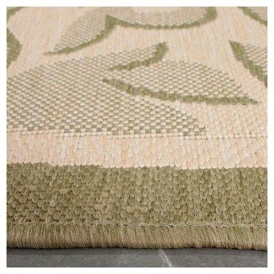 "Ashford Rectangle 6'7""X9'6"" Outdoor Patio Rug - Natural / Olive - Safavieh, Natural/Green"
